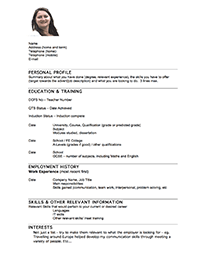 CV Style Three  Teacher Resume Builder
